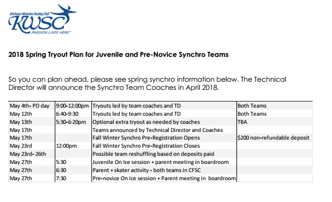 Juvenile and Pre-Novice Synchro Team Try-Outs - Registration NOW OPEN!