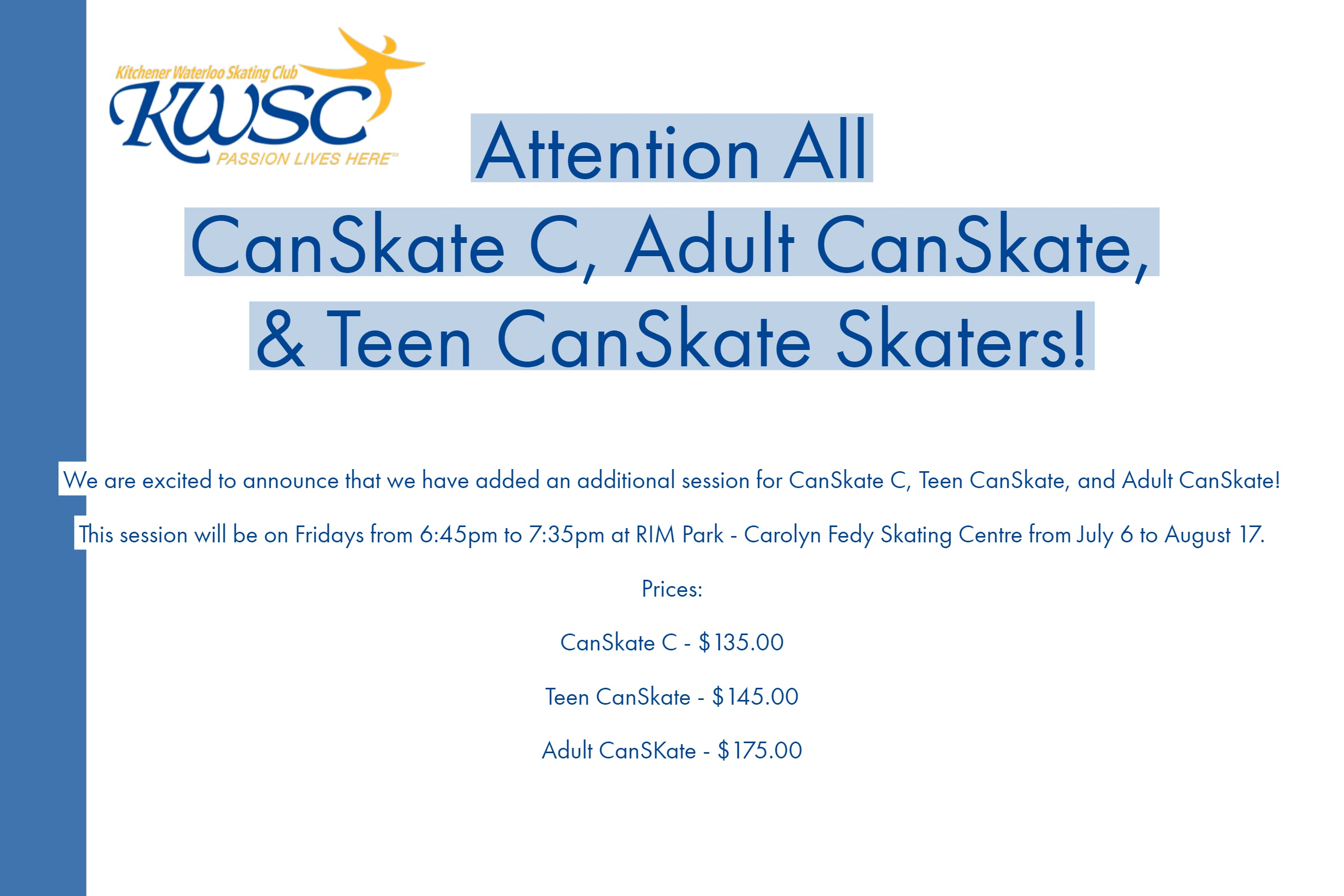 Additional CanSkate Session Added in Summer 2018